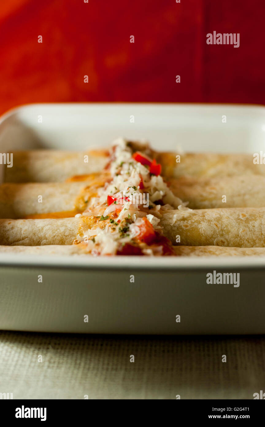 Enchiladas in Casserole, Dish Stock Photo
