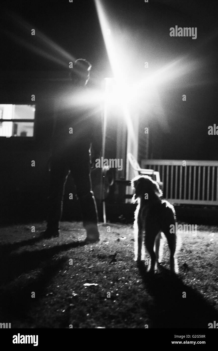 Silhouette of Man and Dog in Backyard at Night - Stock Image