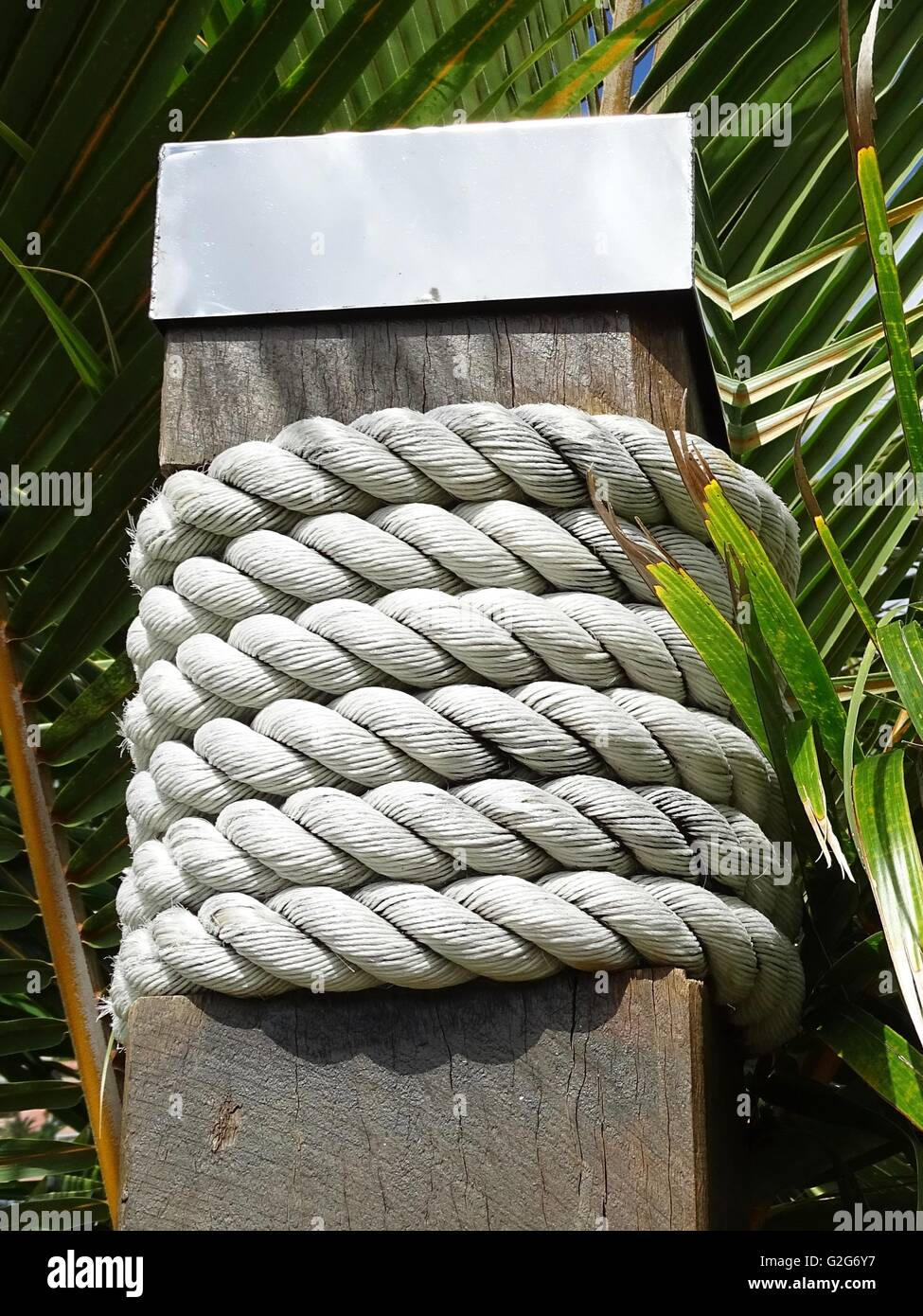 Coiled Rope around a Square Post with a Stainless Steel Cap Stock