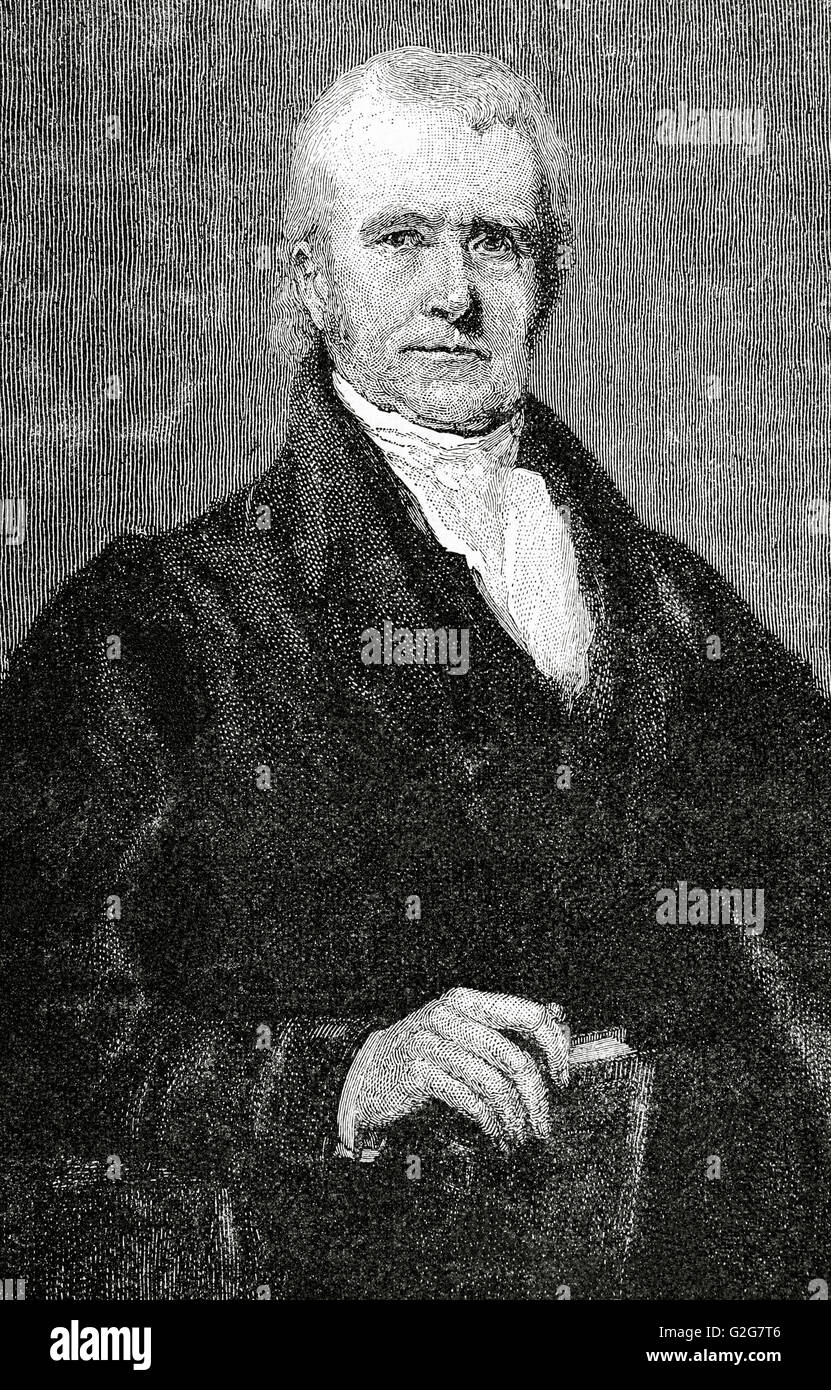 John Marshall (1755-1835). 4th Chief Justice of the United States. Portrait. Engraving in Universal History, 1835. - Stock Image