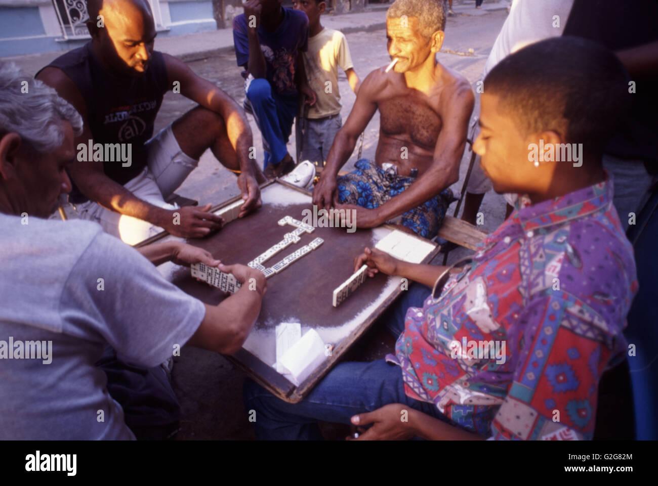 Domino Players in Havana Vieja, Cuba. - Stock Image