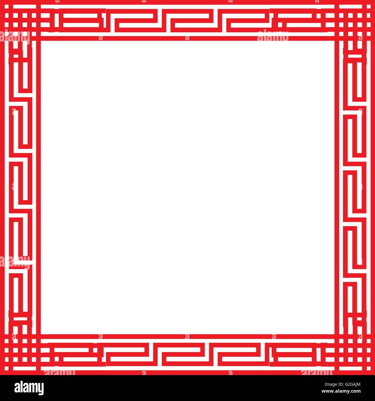 Classic Chinese red square frame, vector Stock Vector Art ...
