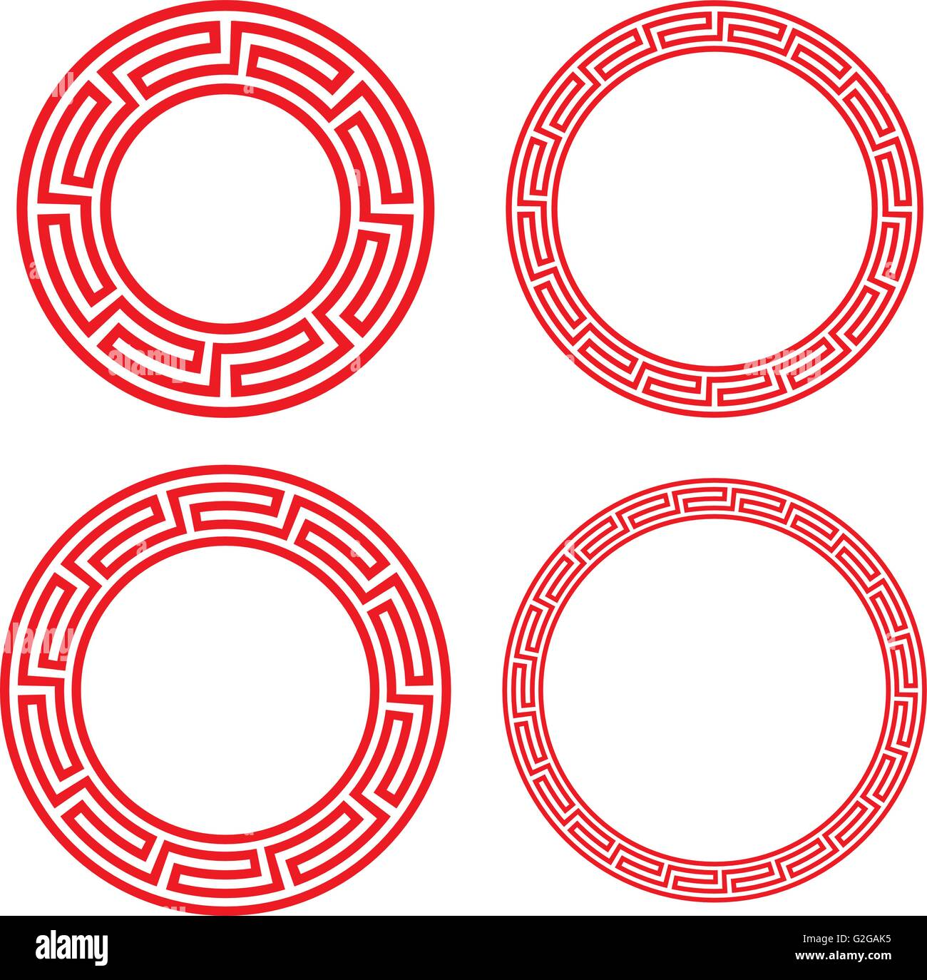 Classic Chinese red circle window and photo frame, vector Stock ...