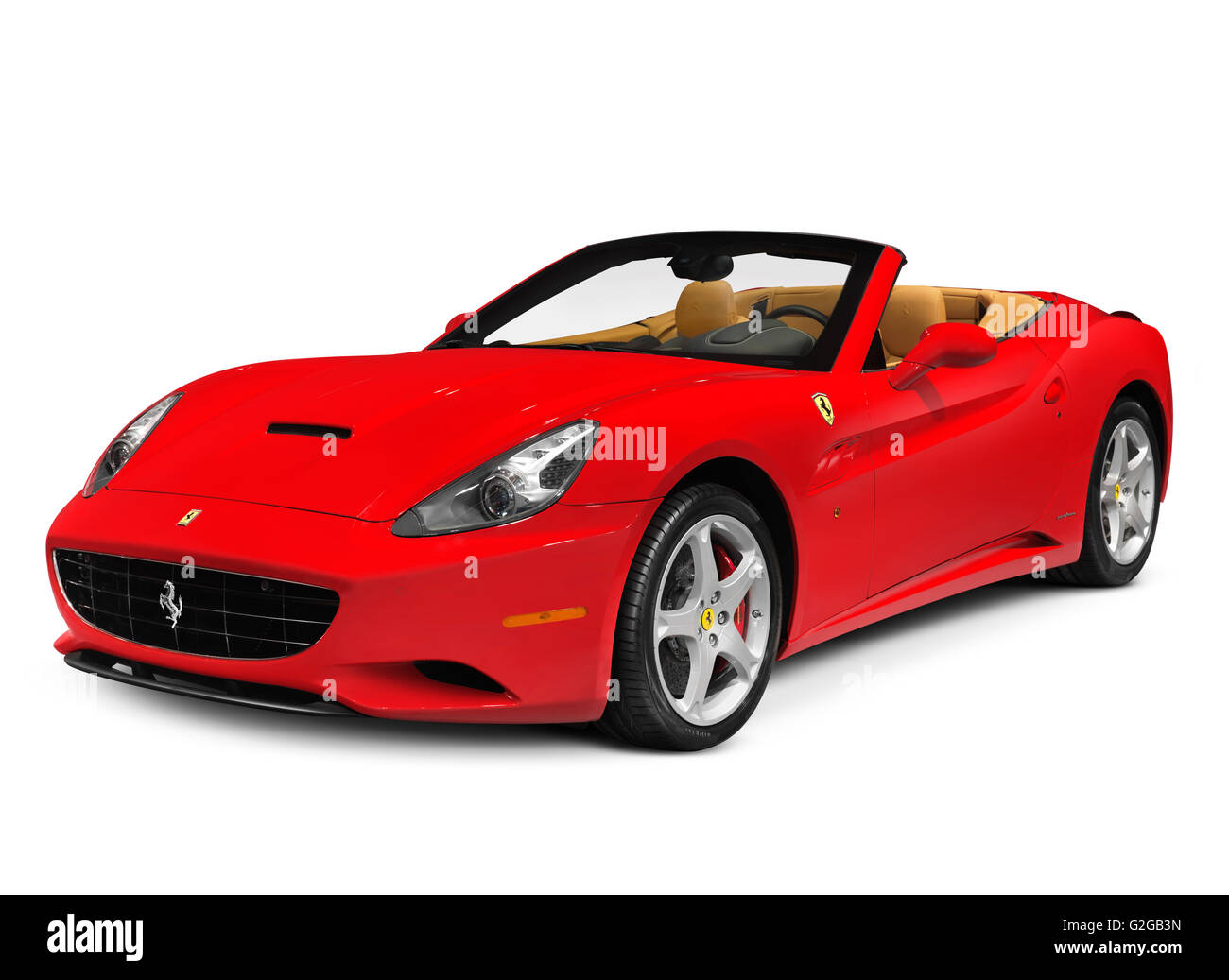 Red Ferrari California grand touring hard top convertible sports car, in production from 2008 - Stock Image