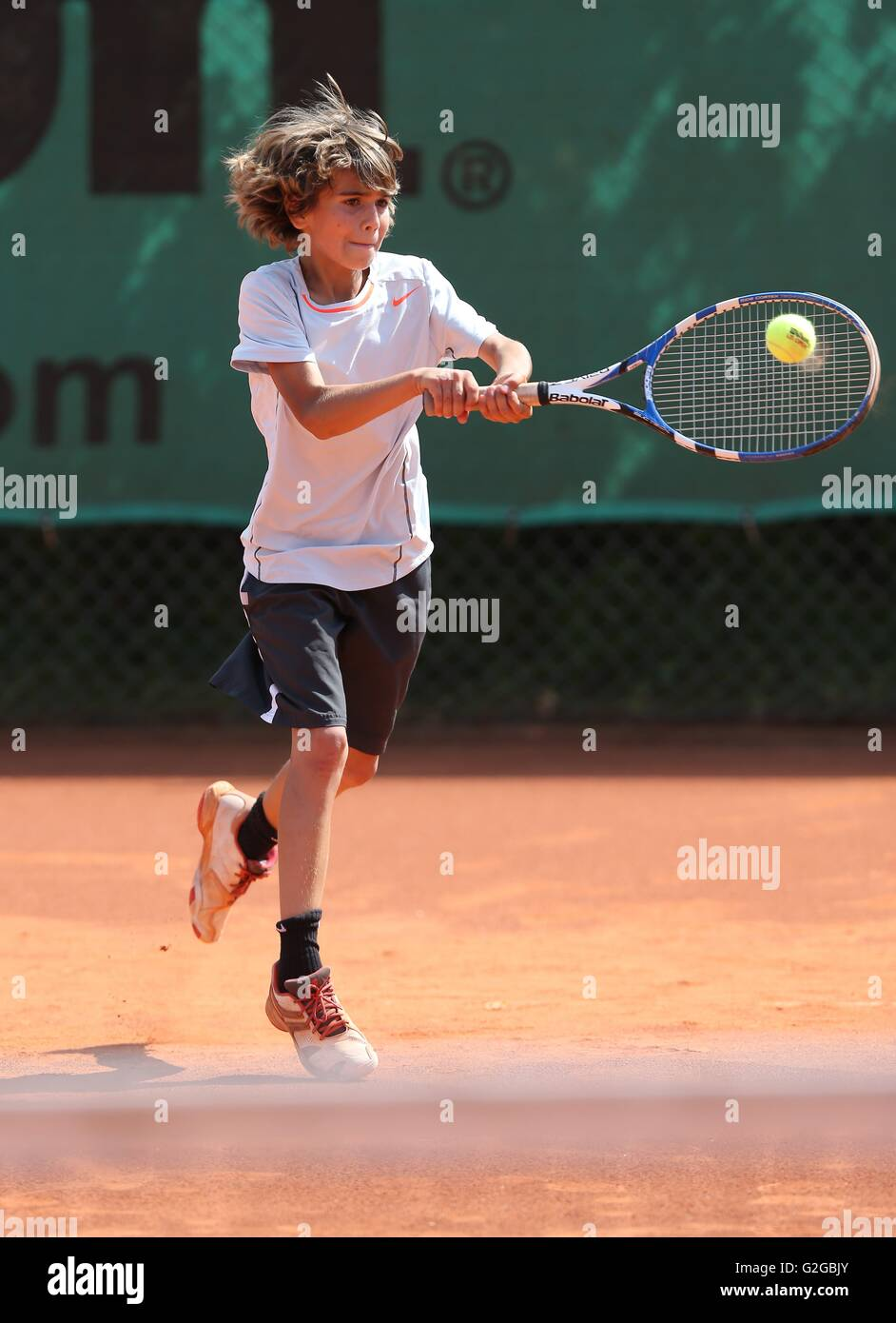 Boy 10 Playing Tennis Hitting With A Two Handed Backhand Munich