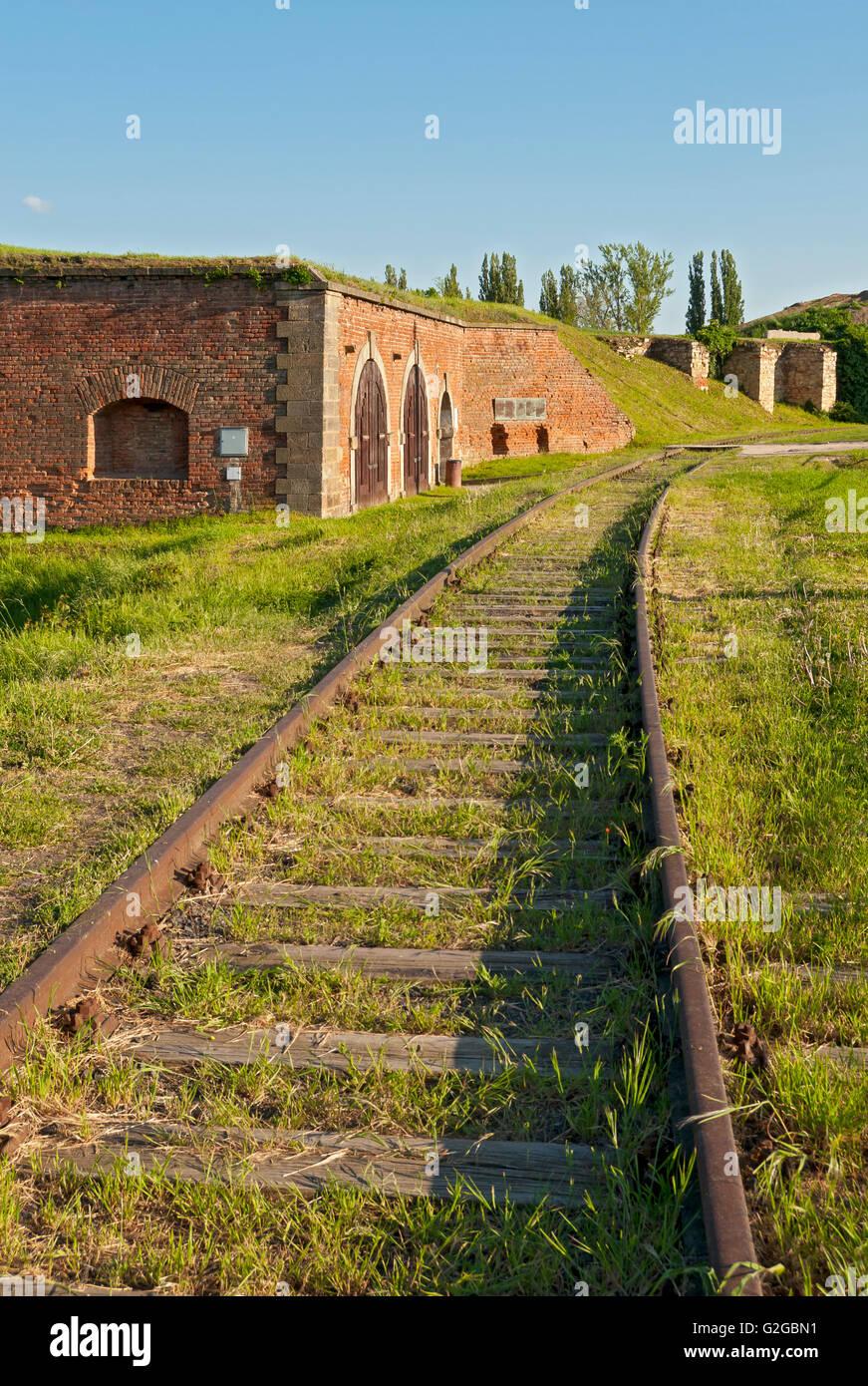 Rail track near the funeral rooms, Terezin Memorial, Terezín, Ústí nad Labem Region, Czech Republic - Stock Image
