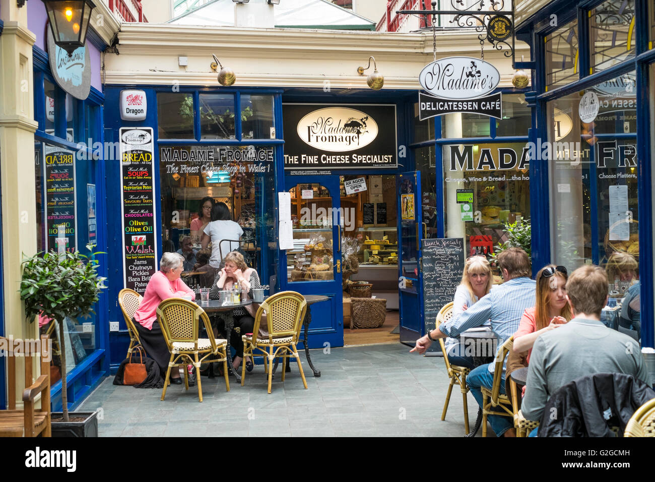 Cardiff the capital city of Wales Great Britain UK Madame Fromage Castle Arcade - Stock Image