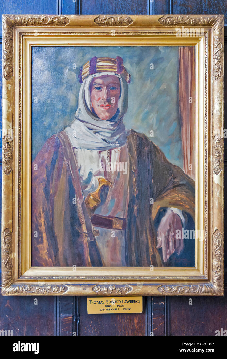 PORTRAIT OF T E LAWRENCE HANGING IN THE DINING ROOM OF JESUS COLLEGE OXFORD - Stock Image