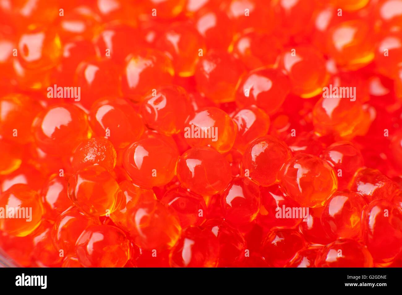 red caviar close-up macro shiny beads - Stock Image