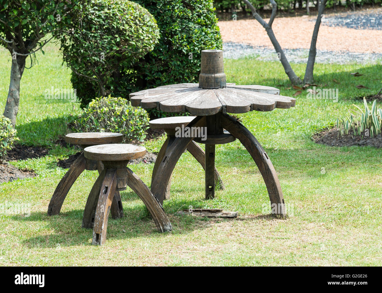 Wooden Chair Set On The Lawn For Decoration In The Small Garden