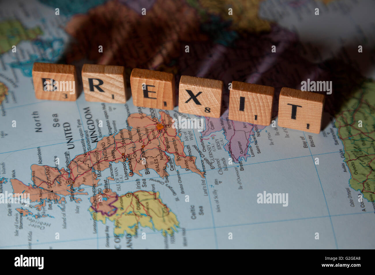 Brexit spelled out on a map of Europe - Stock Image