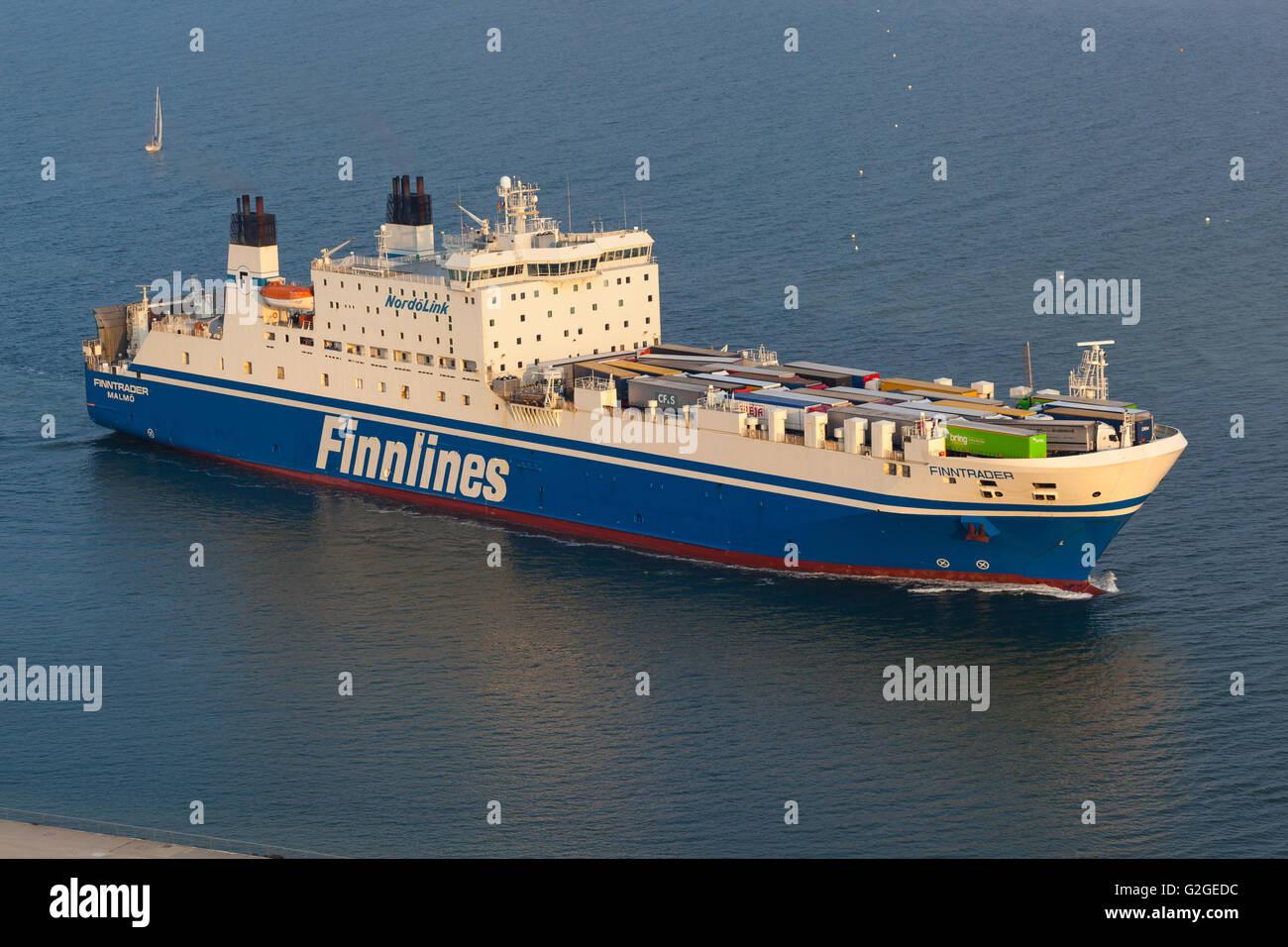 Finnlines 'Finntrader' arriving at the Port of Travemünde, Germany. - Stock Image