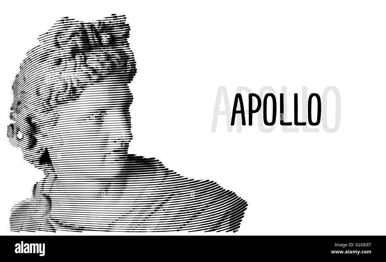 Apollo head antique sculpture engraving sketch - Stock Vector