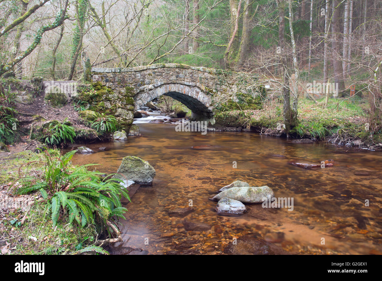 Hound Tor Bridge over the River Bovey within the Dartmoor National Park - Stock Image