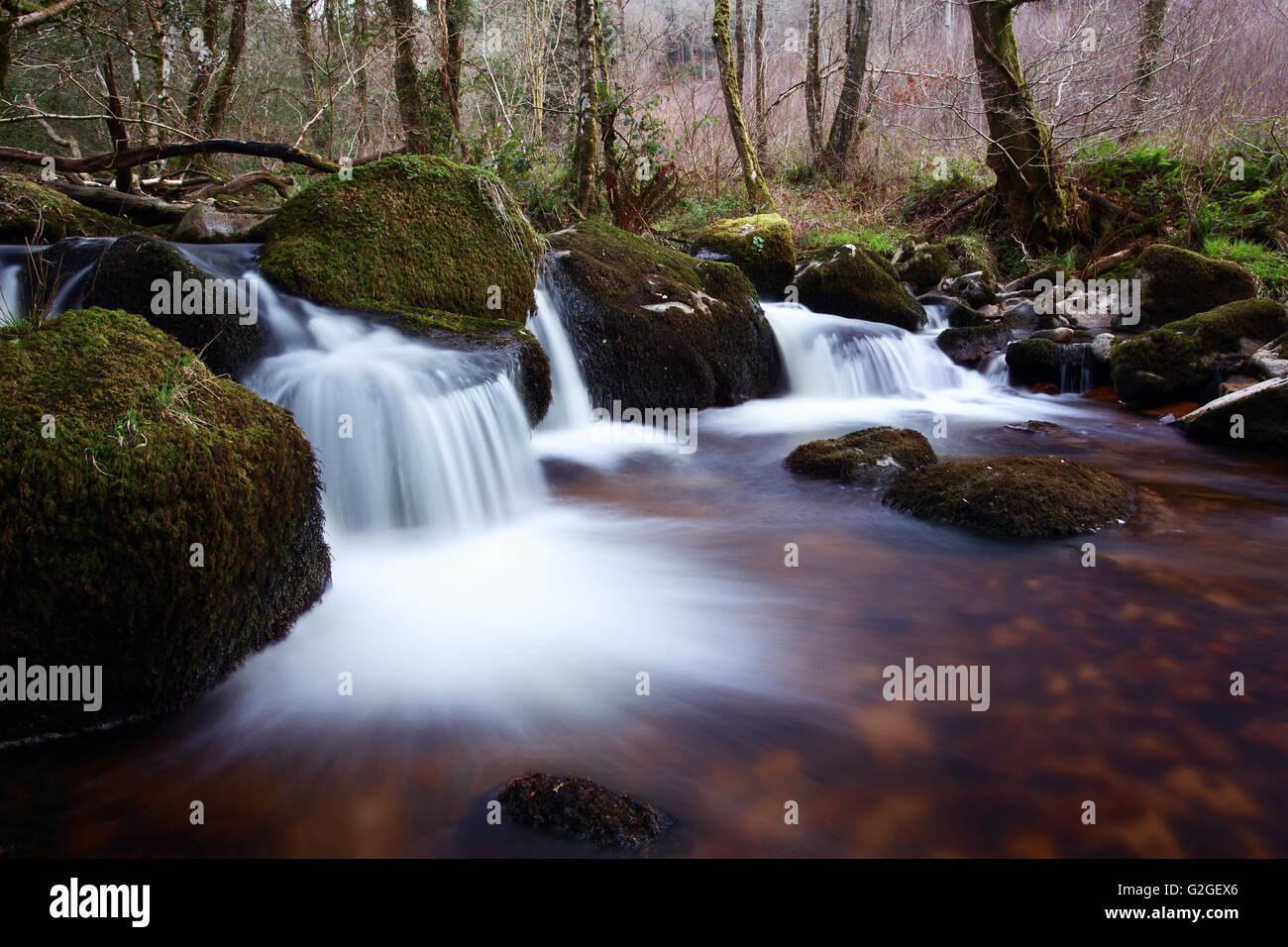 A small waterfall on the River Bovey within the Dartmoor National Park devon Uk - Stock Image