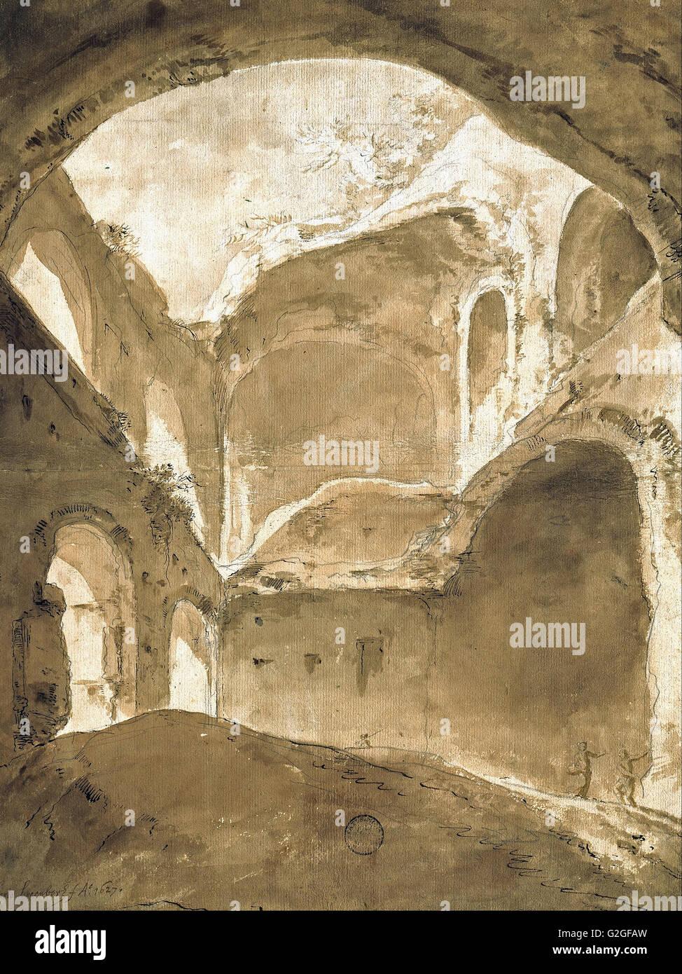 Bartholomeus Breenbergh - Interior of an Ancient Ruin - Museum Kunstpalast, Düsseldorf - Stock Image