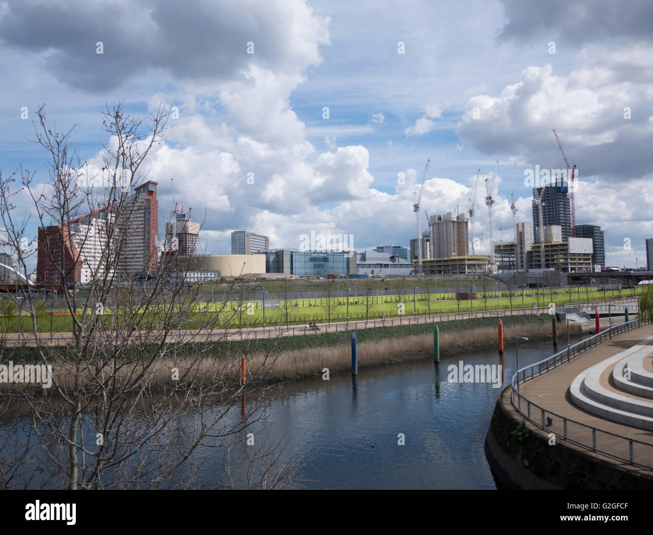 Olympic Park Stratford London, with River Lea - Stock Image
