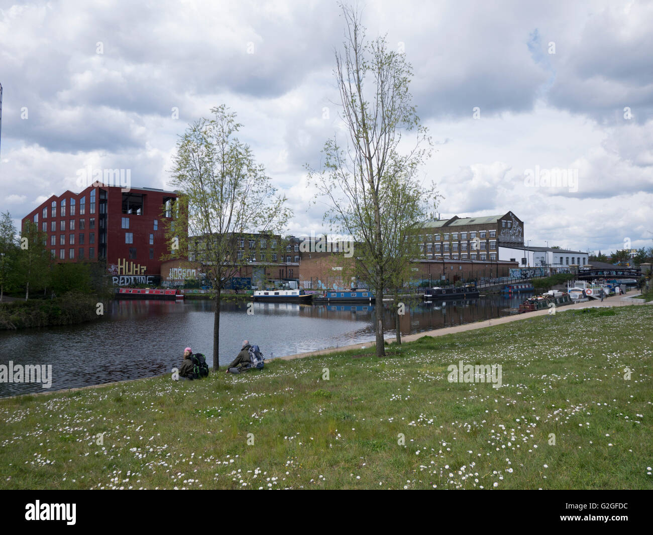 Olympic Park Stratford London, with River Lea Stock Photo