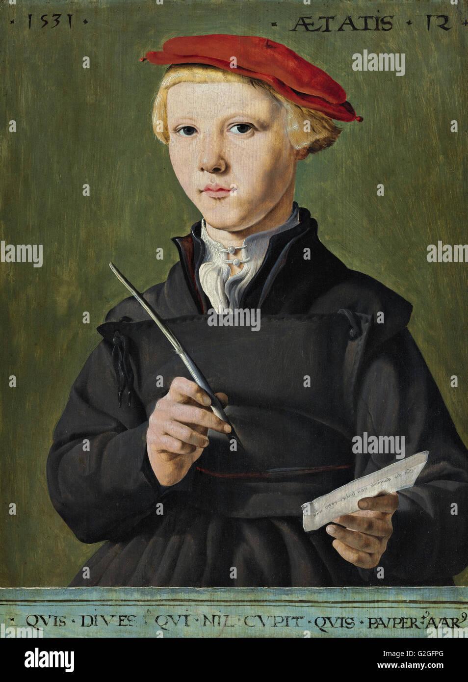 Jan van Scorel - Portrait of a Young Scholar - Museum Boijmans Van Beuningen - Rotterdam - Stock Image