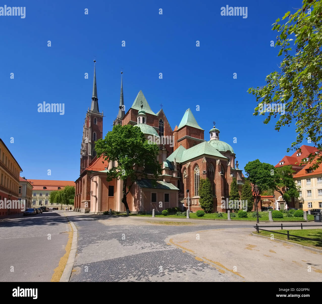 Breslauer Dom in der Stadt - Breslau the cathedral in the city - Stock Image