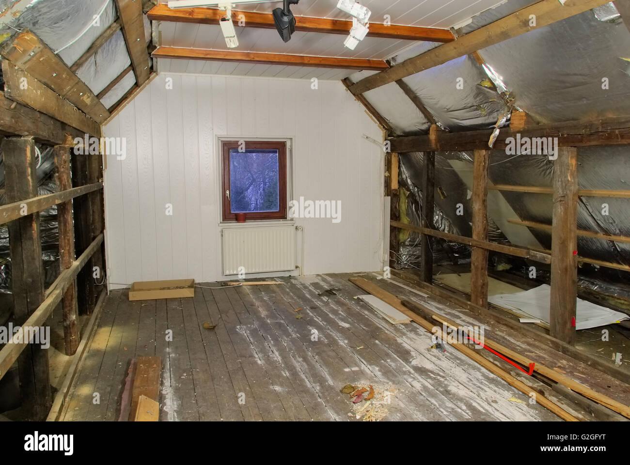 dachstuhl ausbauen - roof truss reconstruct 02 stock photo