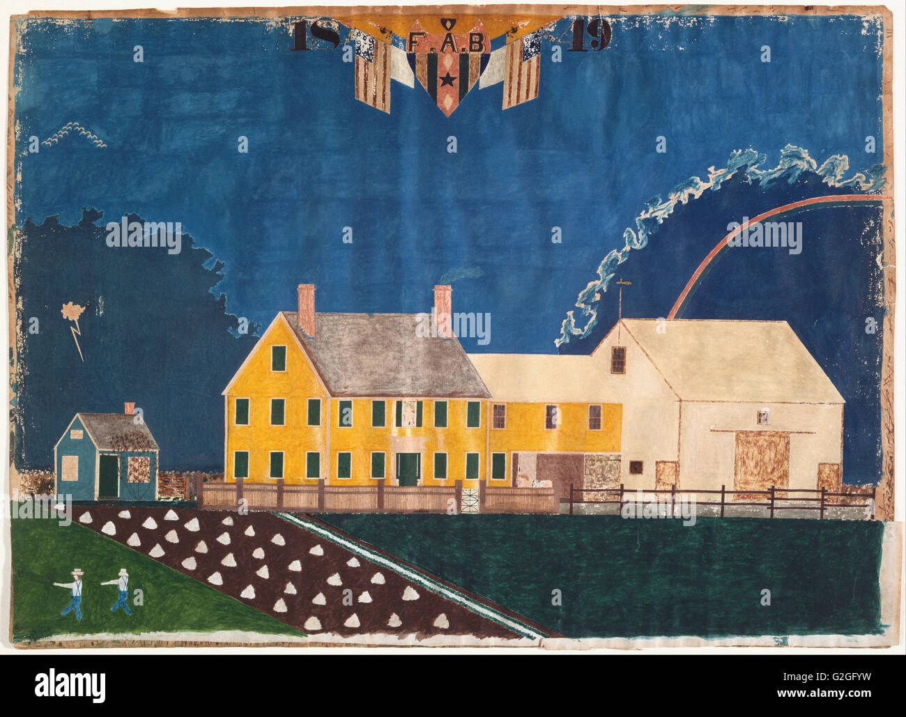 Unidentified artist - Farmstead in Passing Storm - Museum of Fine Arts, Boston - Stock Image