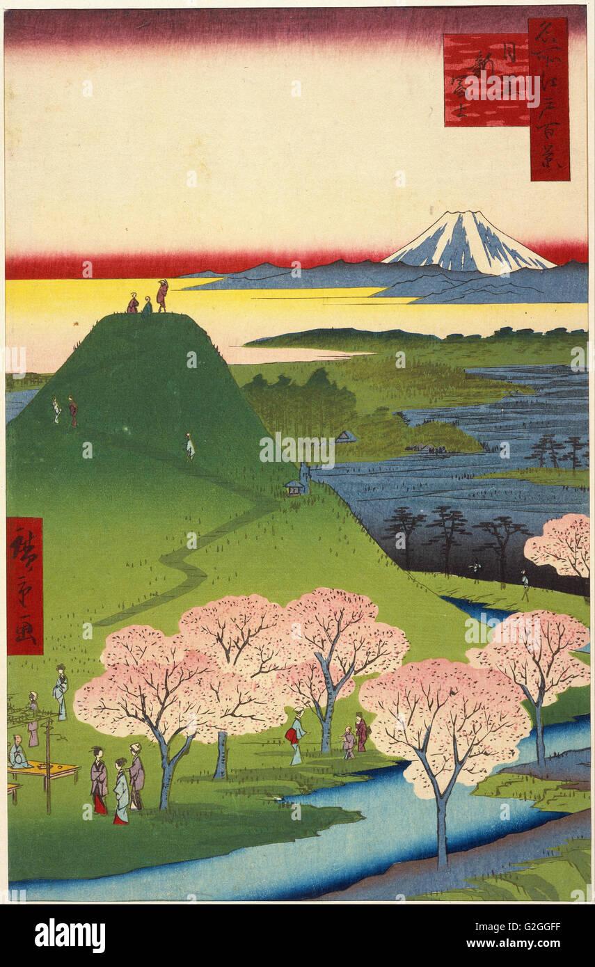 Utagawa Hiroshige I, published by Uoya Eikichi - New Fuji, Meguro (Meguro Shin-Fuji) - Museum of Fine Arts, Boston - Stock Image