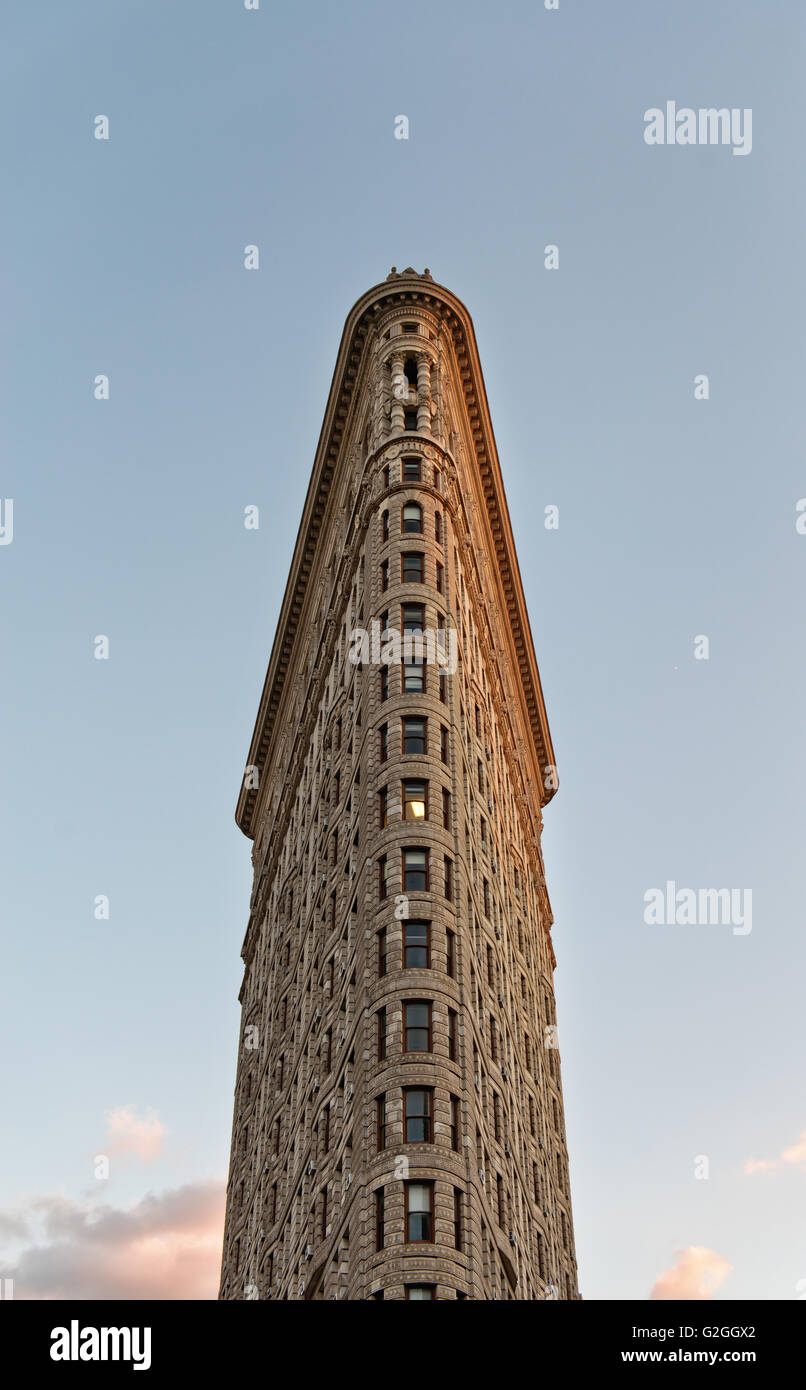 Low Angle View of Flatiron Building at Sunset - a Historic Landmark Located on 5th Avenue, Manhattan, New York City, - Stock Image