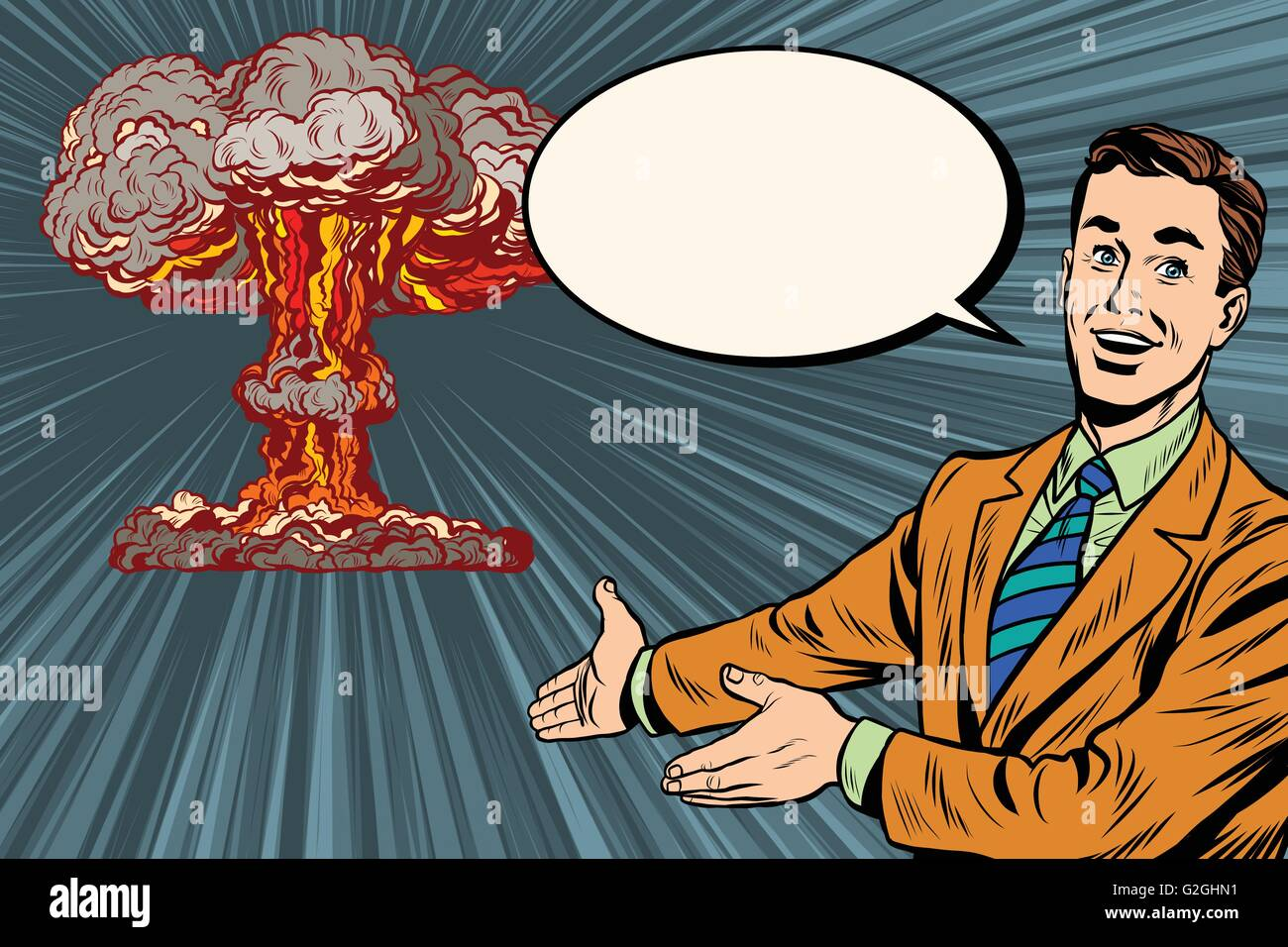 Nuclear explosion lecture on radiation safety - Stock Vector