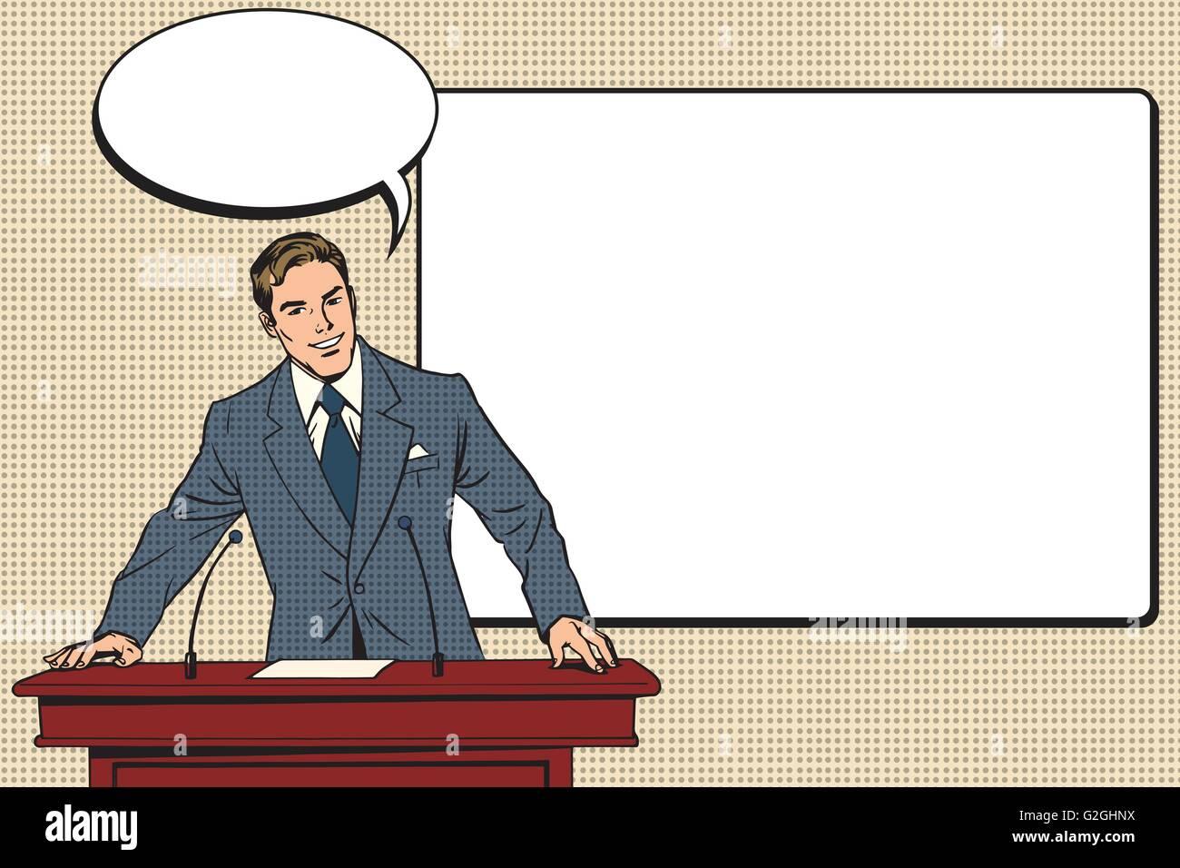 business presentation, a scientific lecture - Stock Vector