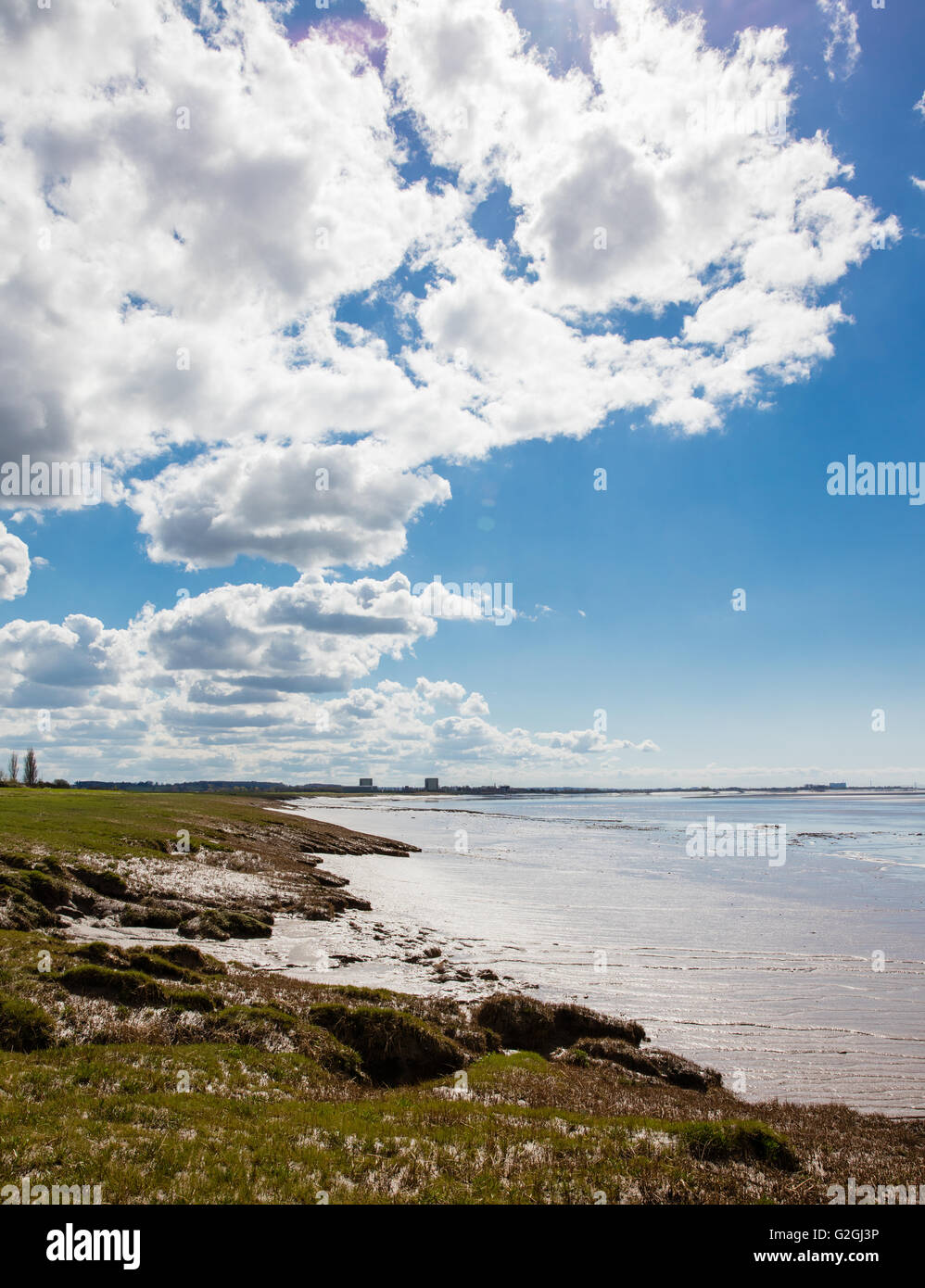 Severn estuary in Gloucestershire with the turbine halls of decomissioned Berkeley nuclear power station on the - Stock Image