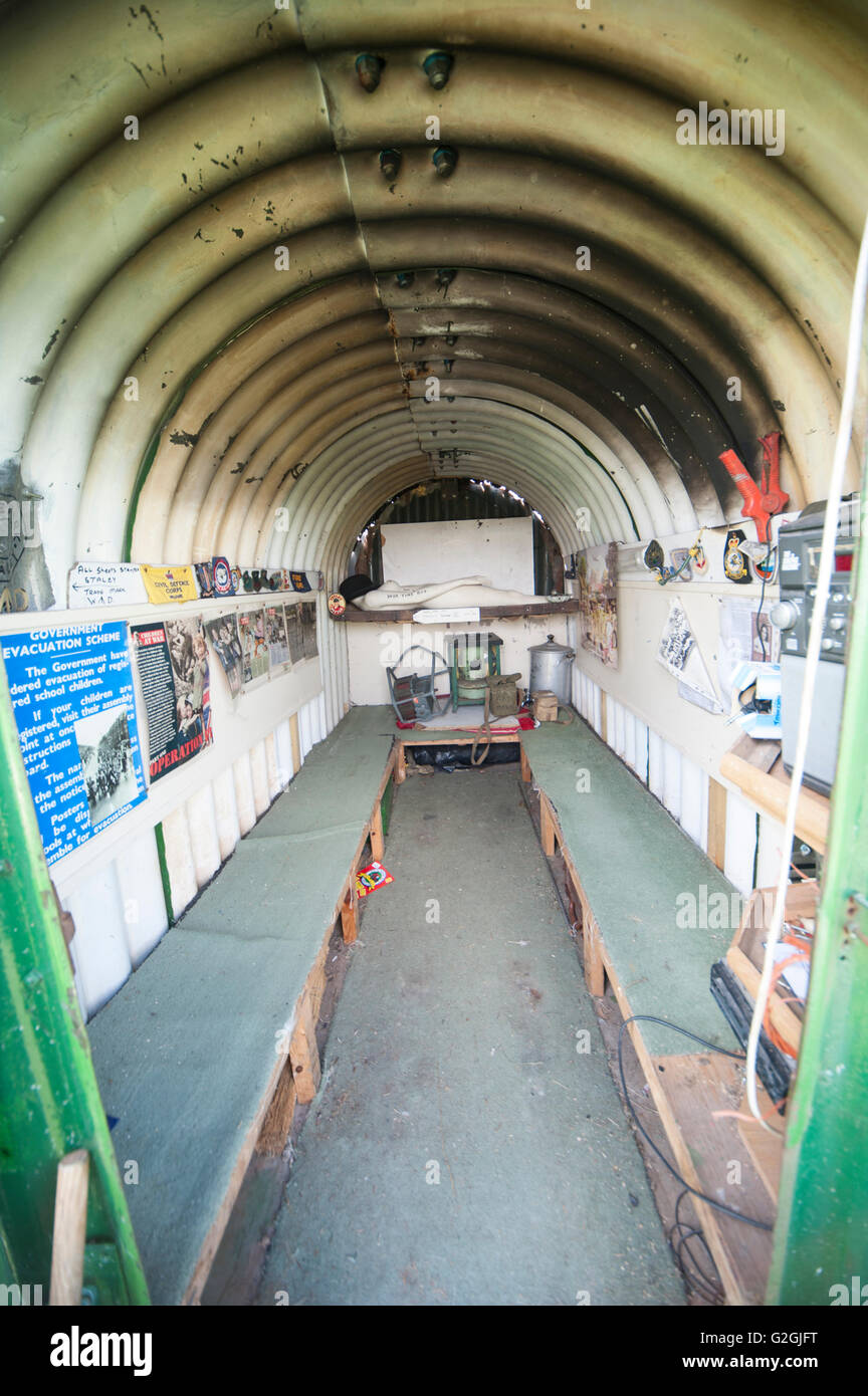 Interior of an old Anderson air raid shelter from WW2 - Stock Image