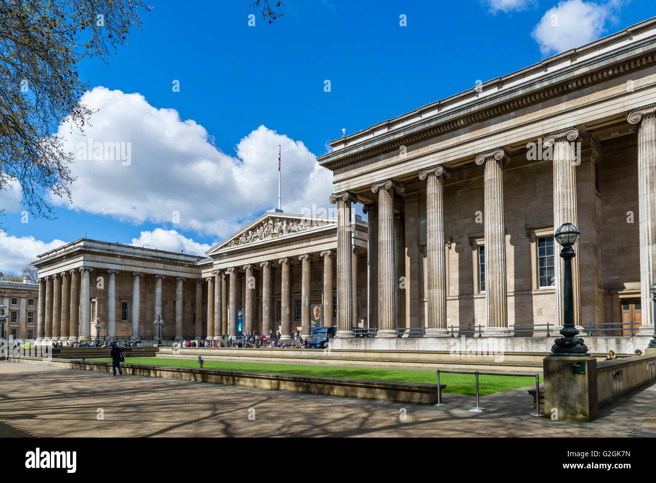 The Great Russell Street facade of the British Museum, Great Russell Street, Bloomsbury, London, England, UK - Stock Image