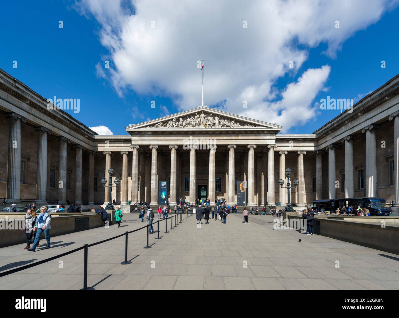 The main entrance to the British Museum, Great Russell Street, Bloomsbury, London, England, UK - Stock Image