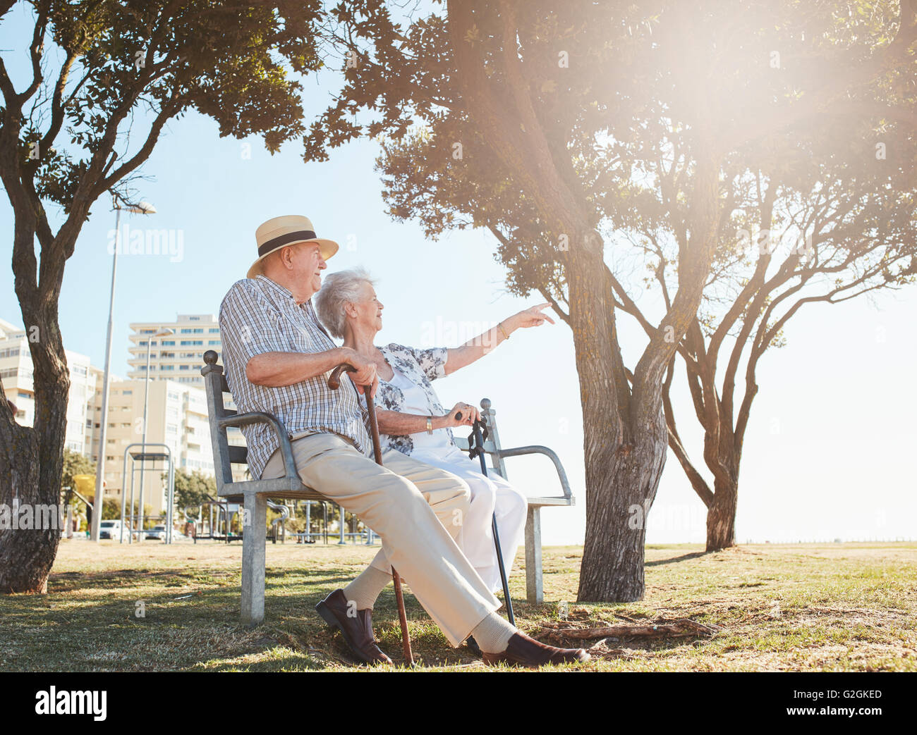 Outdoor shot of a senior couple sitting on a park bench with woman showing something interesting to her  husband. - Stock Image