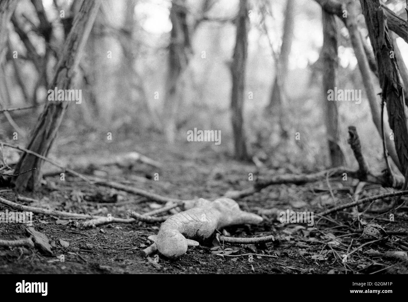 Stone Mermaid Figurine on Ground in Clearing, Close-Up - Stock Image