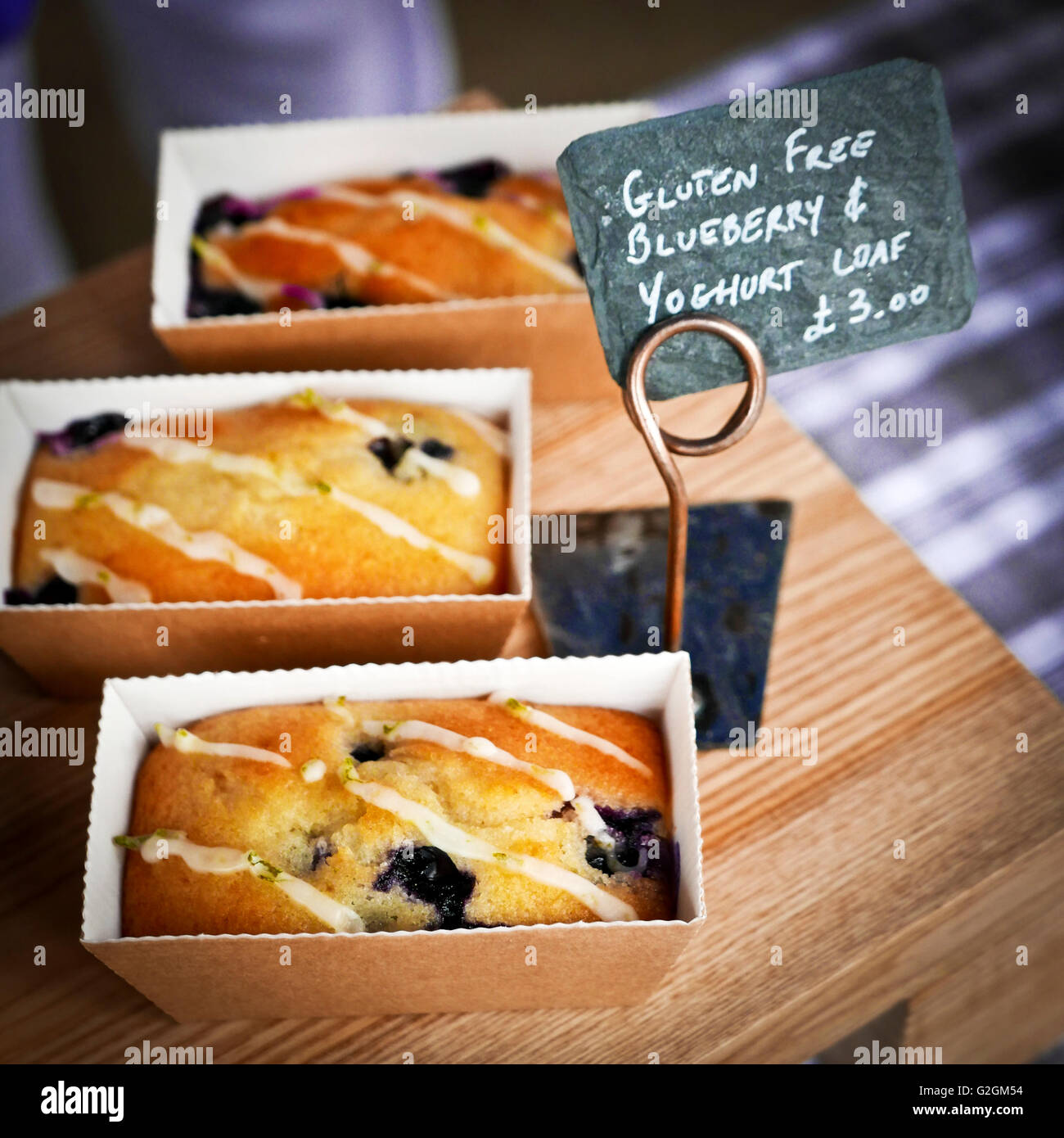 Gluten free blueberry and yoghurt loaf at Wansteads monthly Farmers Market, Wanstead, London - Stock Image
