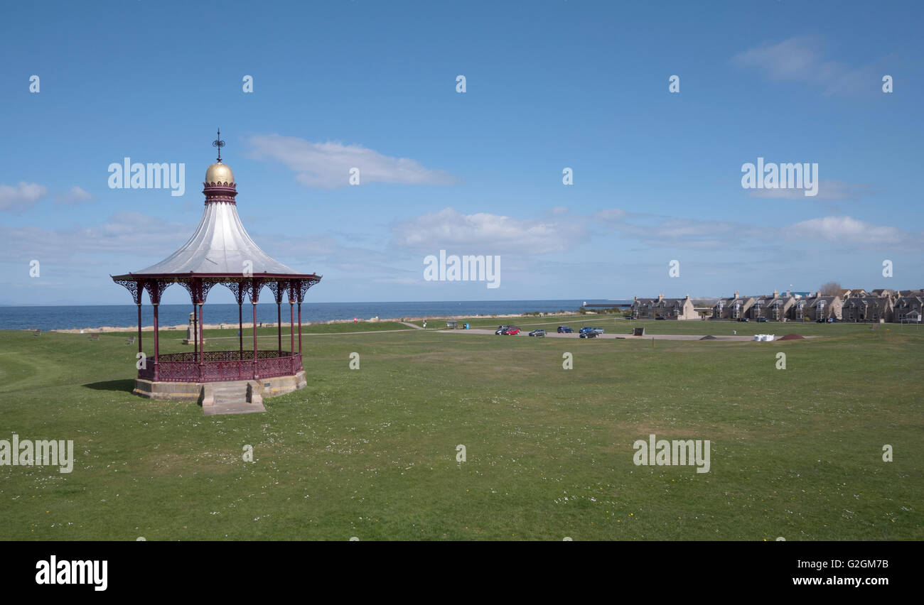 the Wallace Bandstand overlooking the Moray Firth at Nairn, - Stock Image