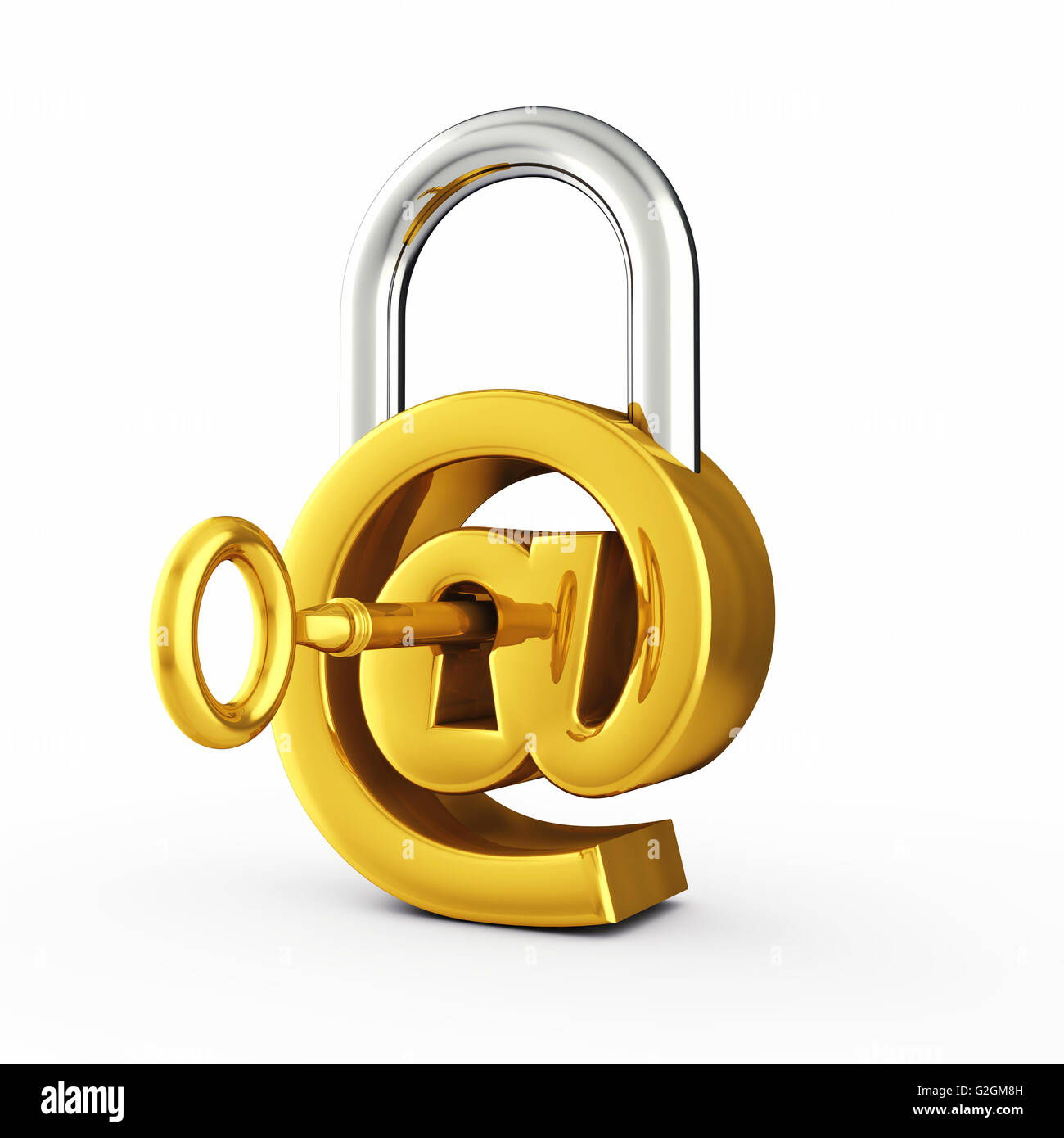 At sign as padlock , Secure email password , Internet security - Stock Image