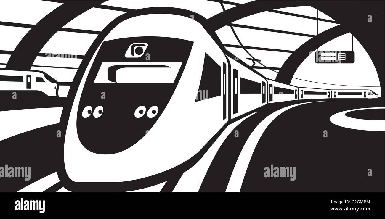 Passenger train approaching railway station - vector illustration - Stock Vector