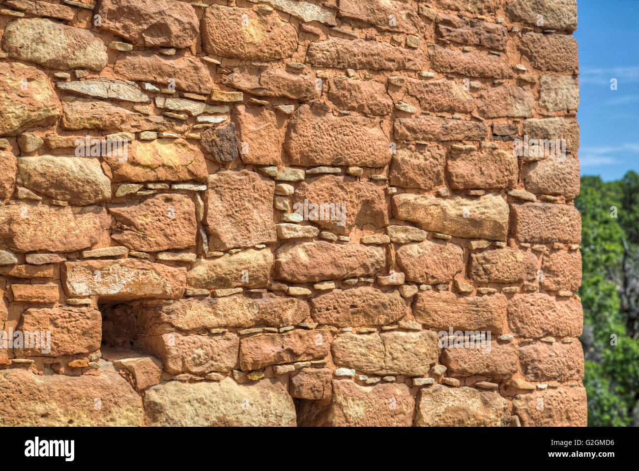Intricate Stonework, Holly Group, Anasazi Ruins, dates from A.D. 1230-1275, Hovenweep National Monument, Utah, USA - Stock Image