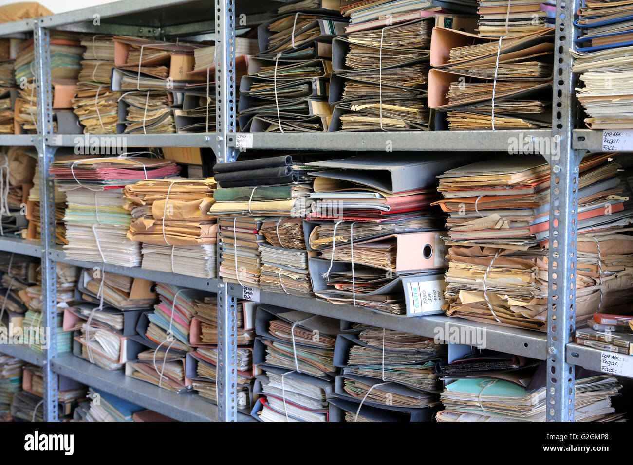 Germany, Leipzig. Documents in the archive of the former secret police headquarters, now BStU Federal Commissioner Stock Photo