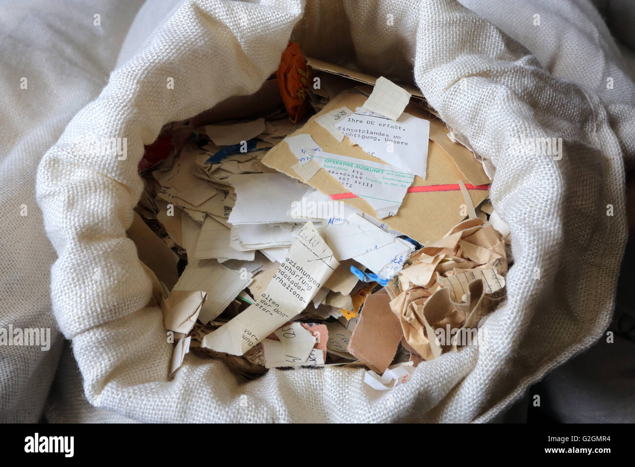 Germany, Leipzig. Bag filled with documents shredded by the STASI secret police in the archive of the former secret Stock Photo