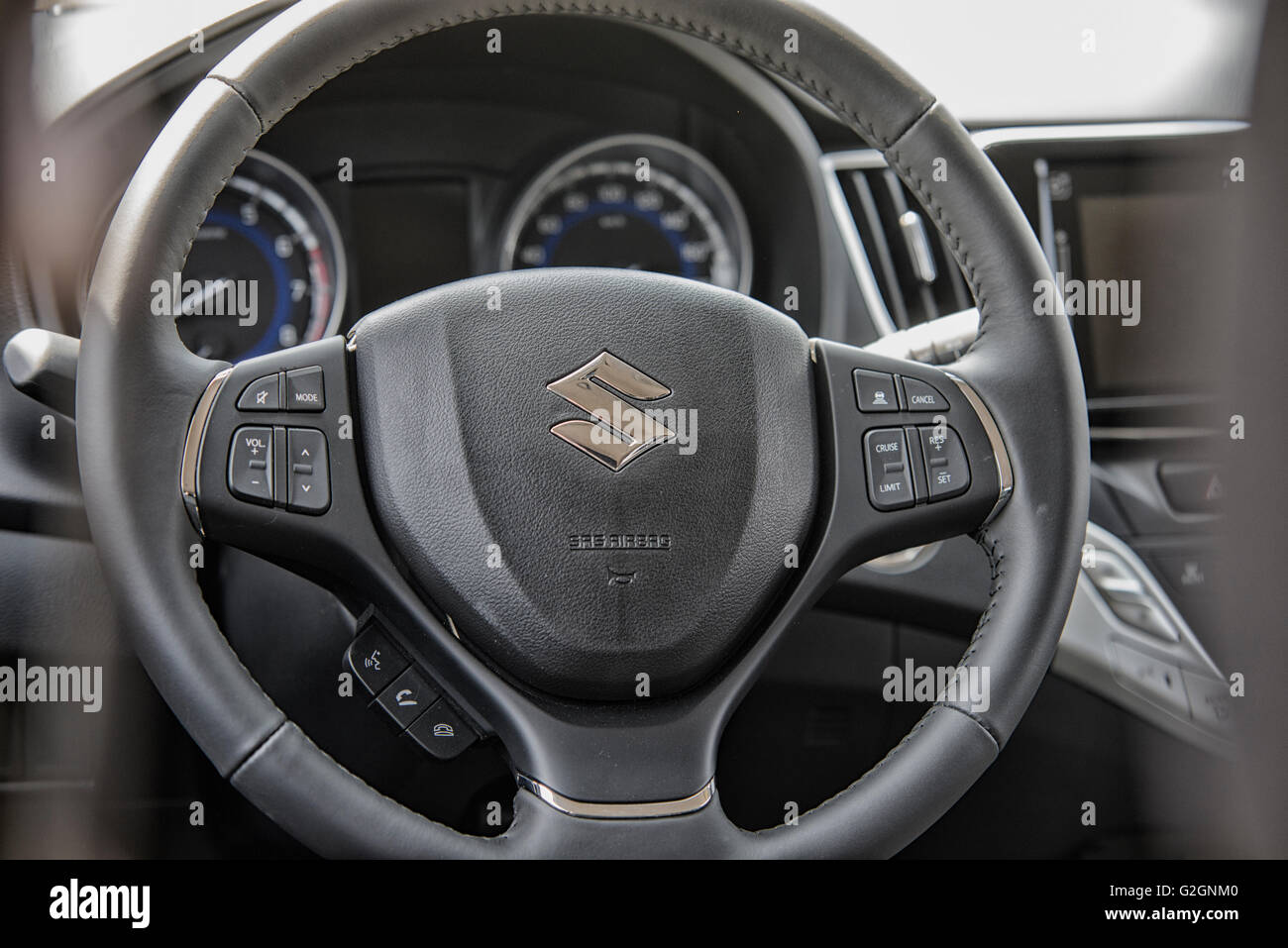 Wroclaw, Poland, May 28, 2016: Close up on Suzuki Baleno sterring wheel  on Motoshow on May 28, 2016 in Poland - Stock Image