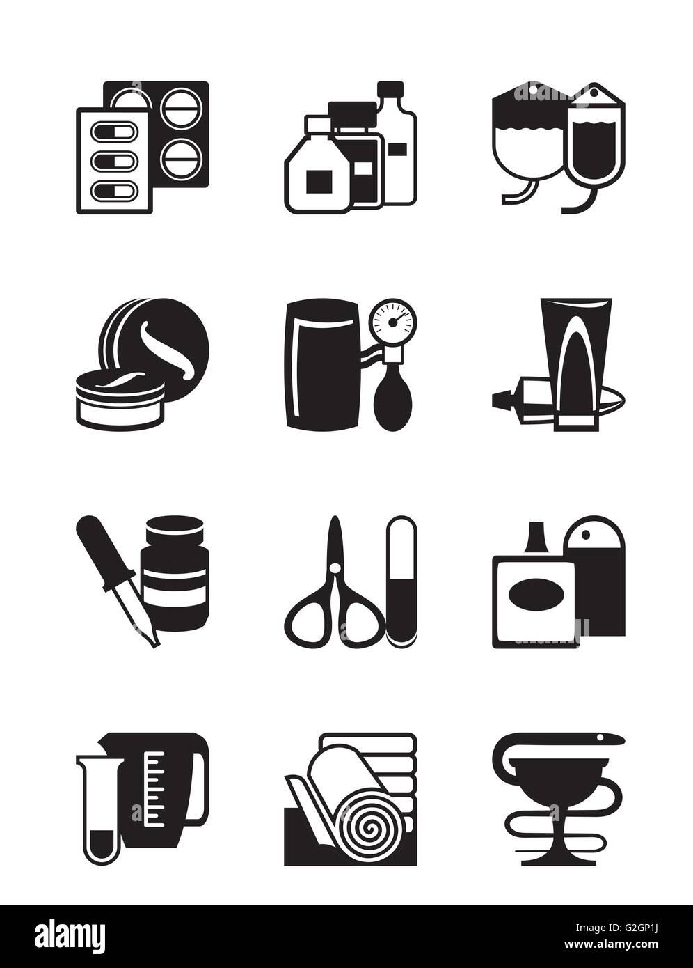 Medical and pharmaceutical supplies - vector illustration - Stock Image