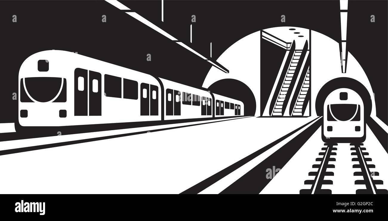 Platform of subway station with trains - vector illustration - Stock Vector
