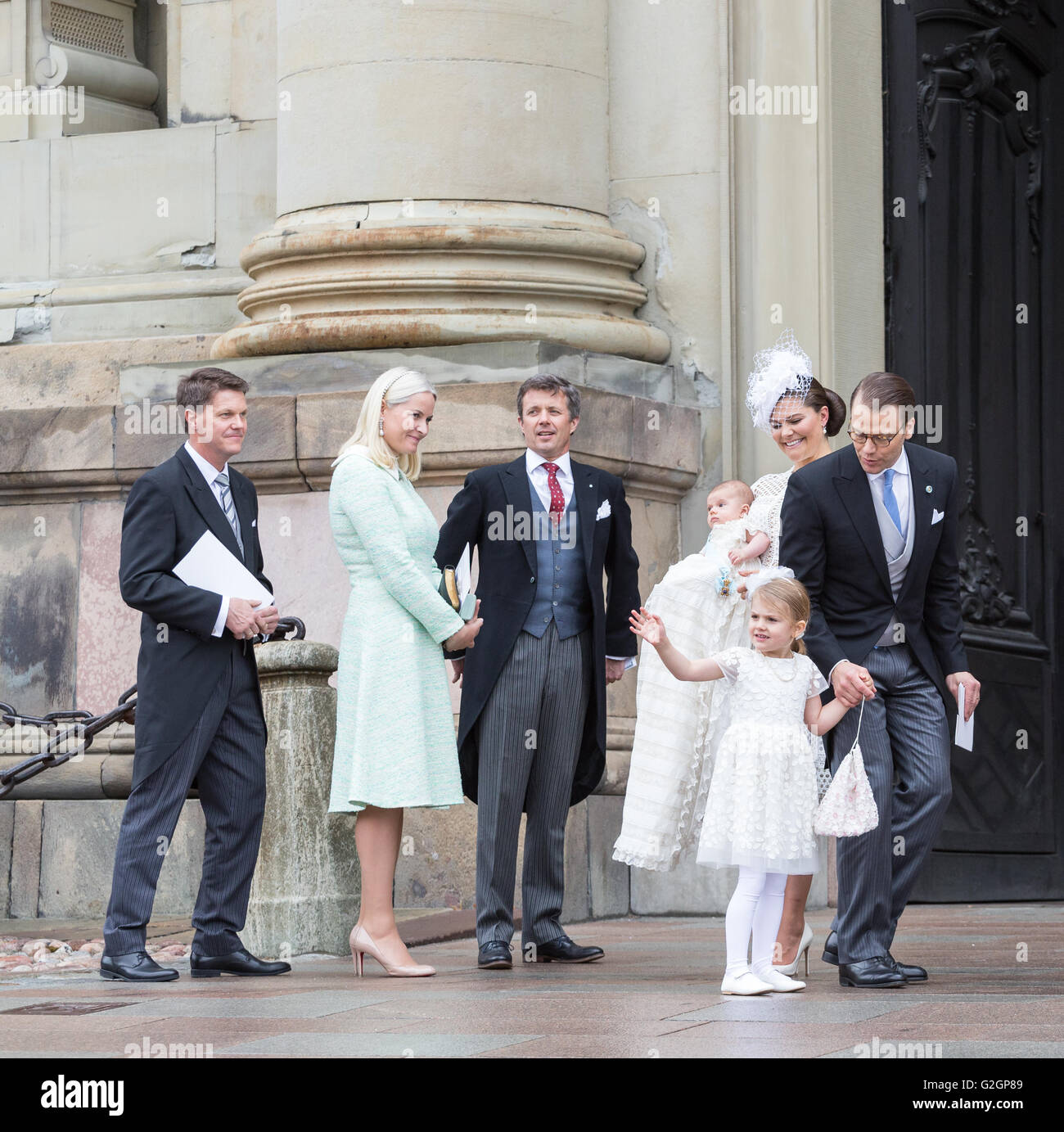 Royal Baptism in Sweden May 2016 – Prince Oscar of Sweden. Princess Estelle waves - Stock Image