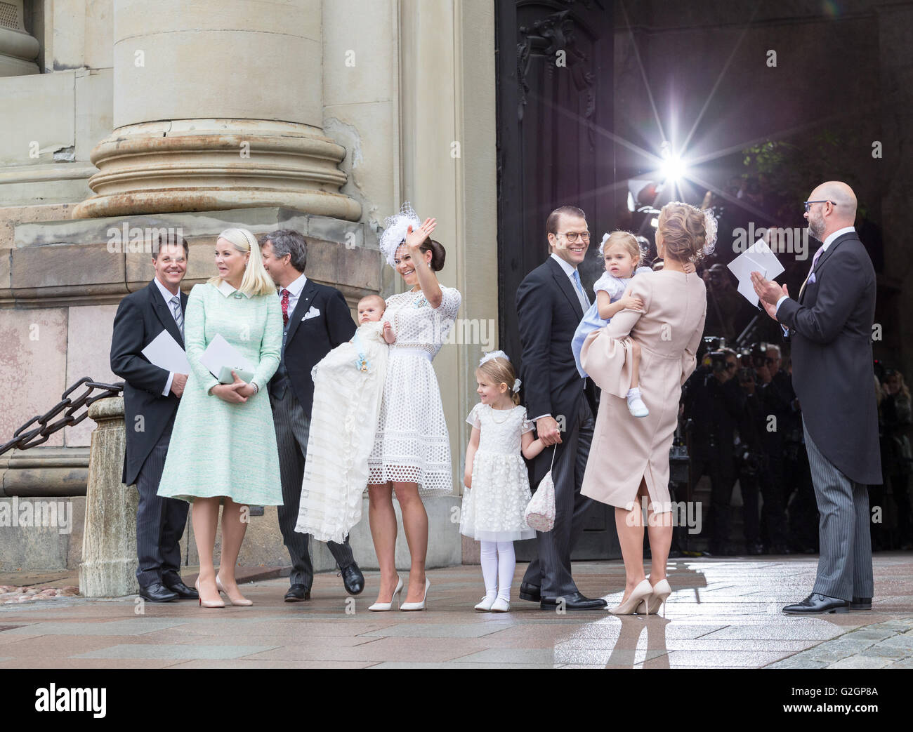 Royal Baptism in Sweden May 2016 – Prince Oscar of Sweden. The closest family and godparents are seen - Stock Image