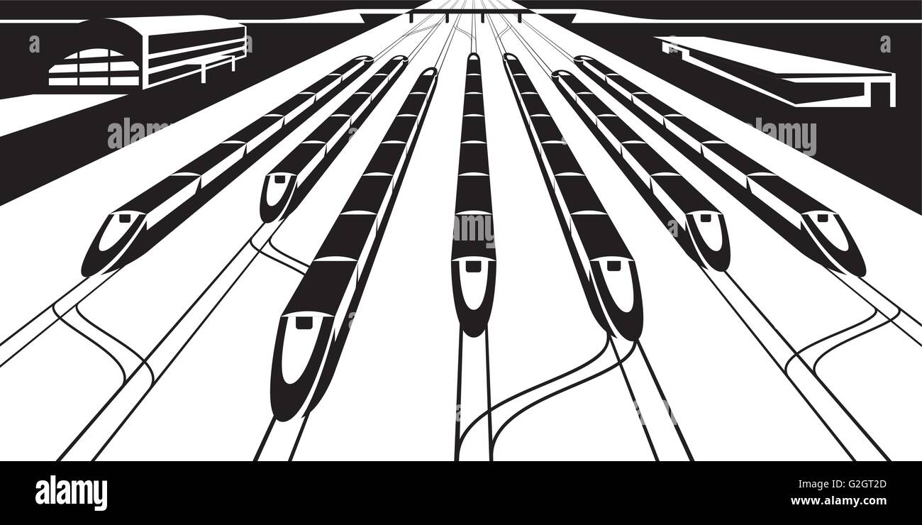 Platform of railway station with trains - vector illustration - Stock Vector
