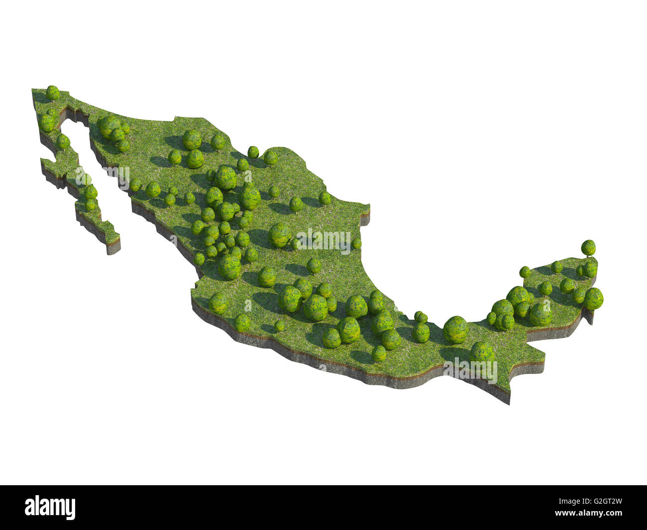 3d render of mexico  map section cut isolated on white with clipping path - Stock Image